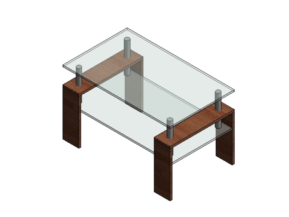 Coffee table in glass and wood materials