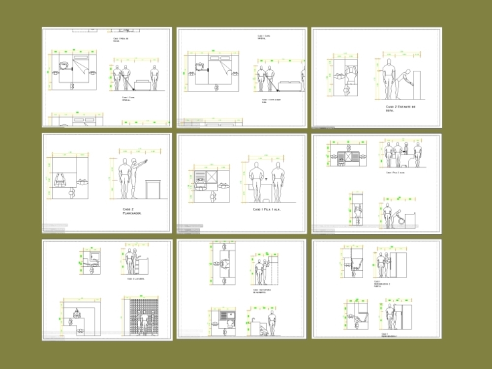 Detalles antropometricos de sala; baño y cocina