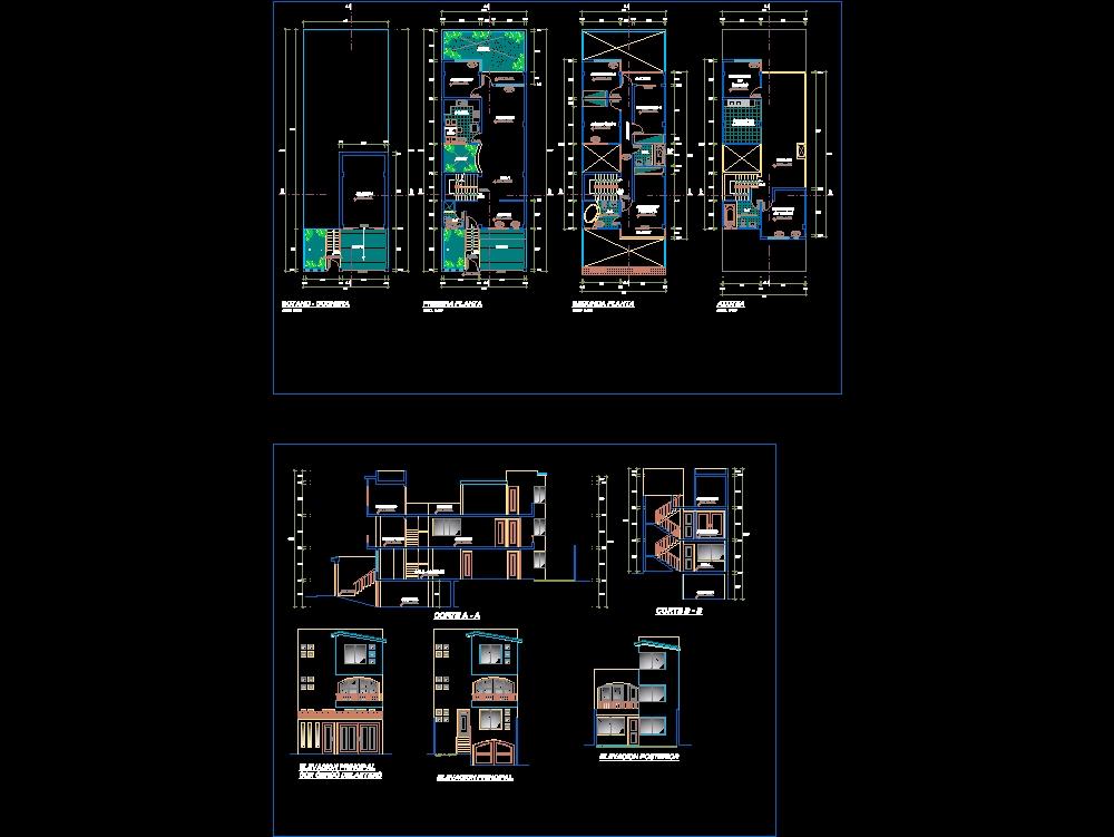 Vivienda de 3 pisos; plano de arquitectura