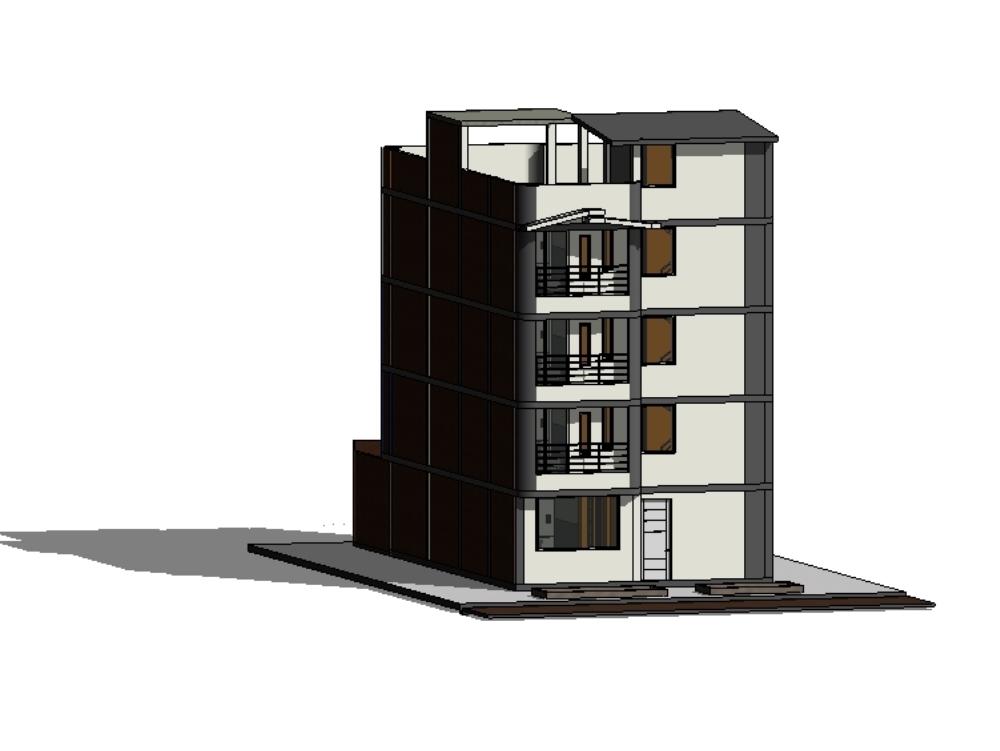 Vivienda multifamiliar de cuatro pisos