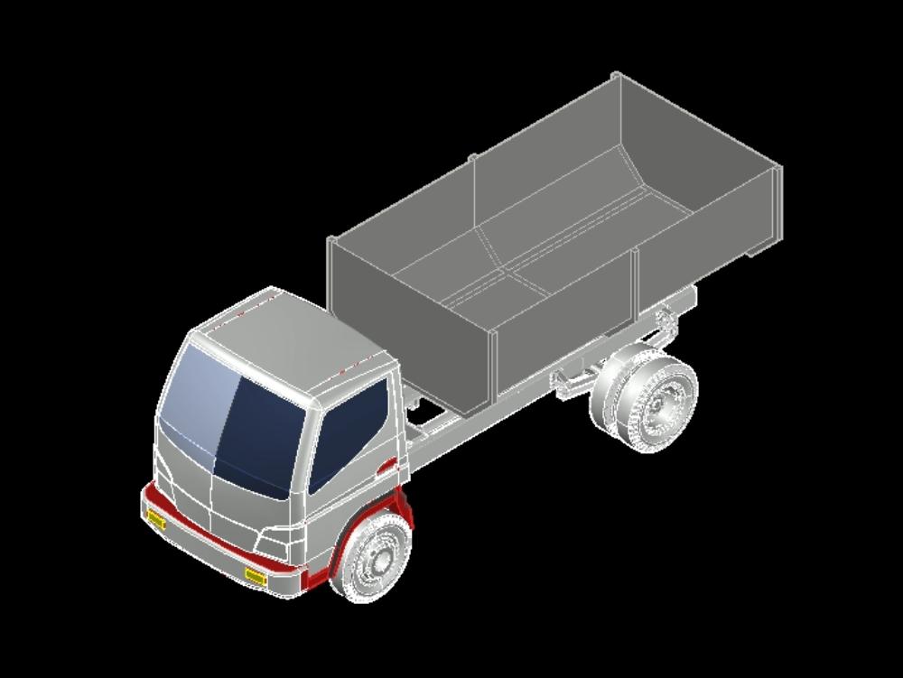 Dibujo de camion con tolva de carga autocad