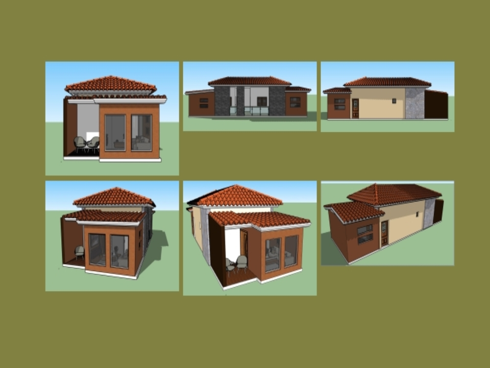 One-storey house in 3d.