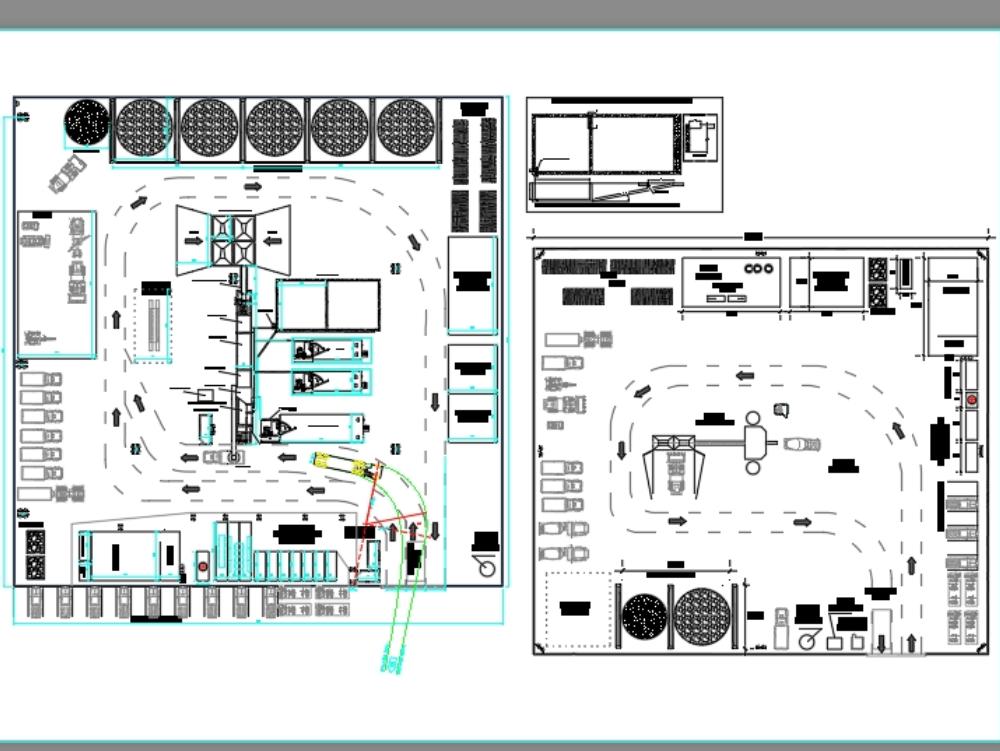 Planos en 2d obrador con planta de asfalto
