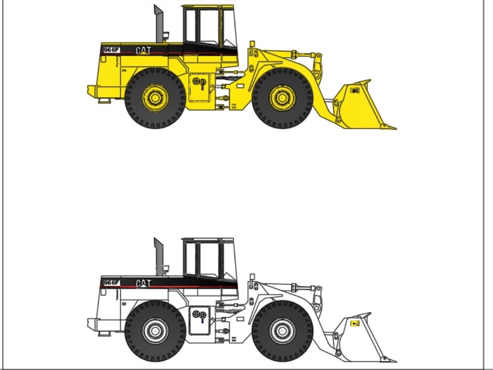 Cat 966 f Whell Loader 2d Seitenansicht für alle Baustelleningenieure