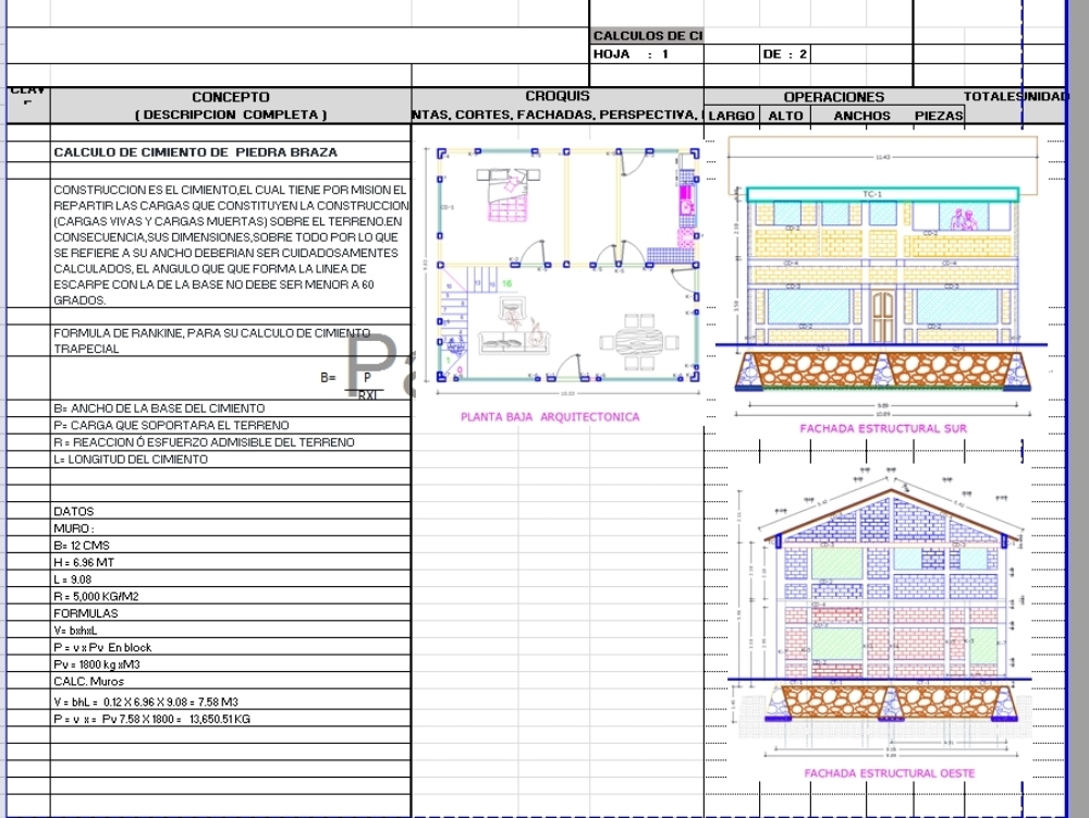 Stone foundation calculations of a house
