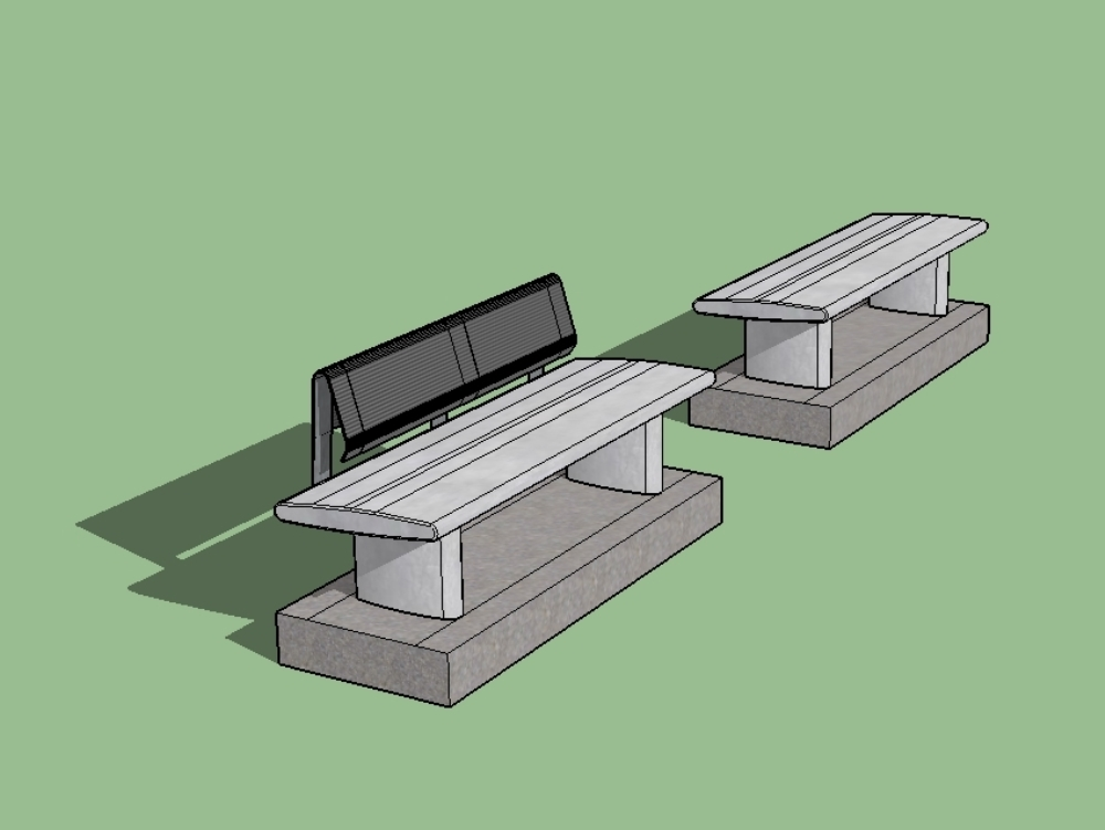 Simple concrete bench with backrest