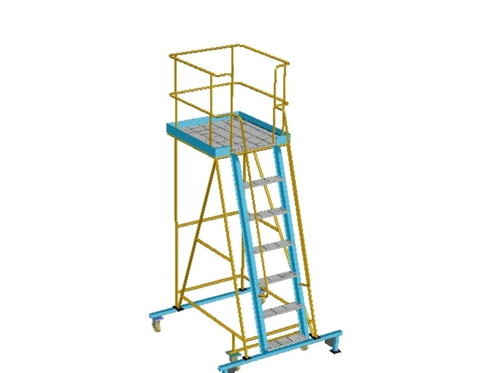 Modelo 3D de escalera de plataforma de trabajo utilizada en el sitio