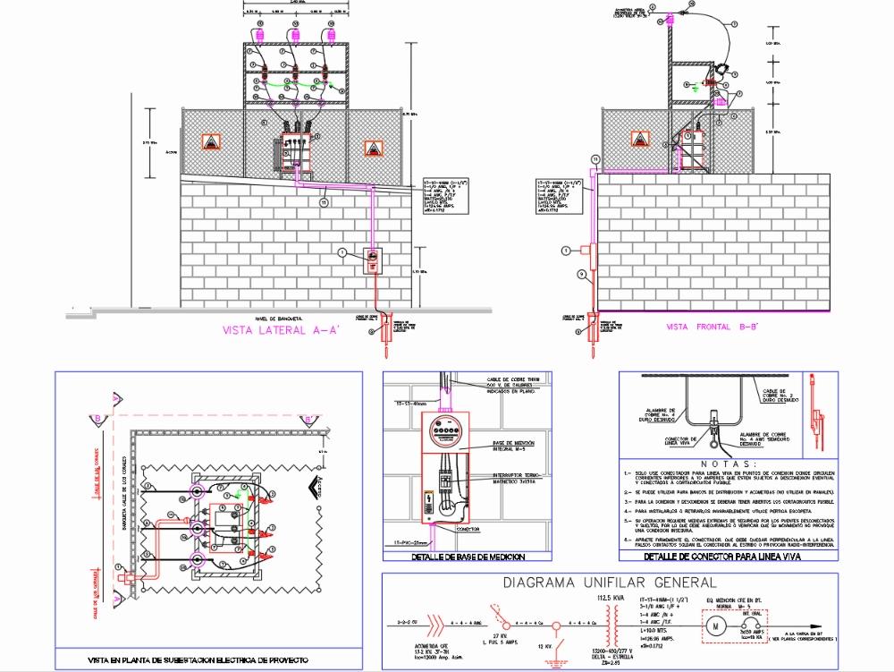 Subestacion tipo azotea 112.5 kva  13200v