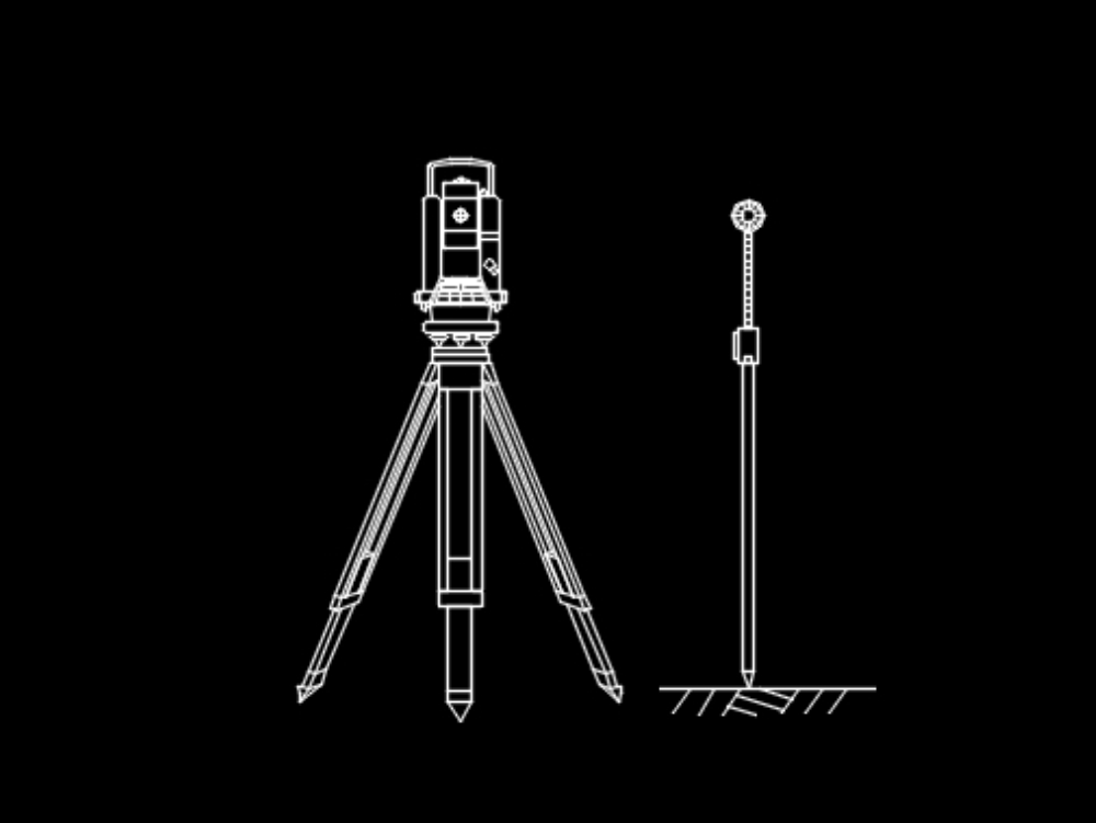 Drawing of a theodolite and its respective sight