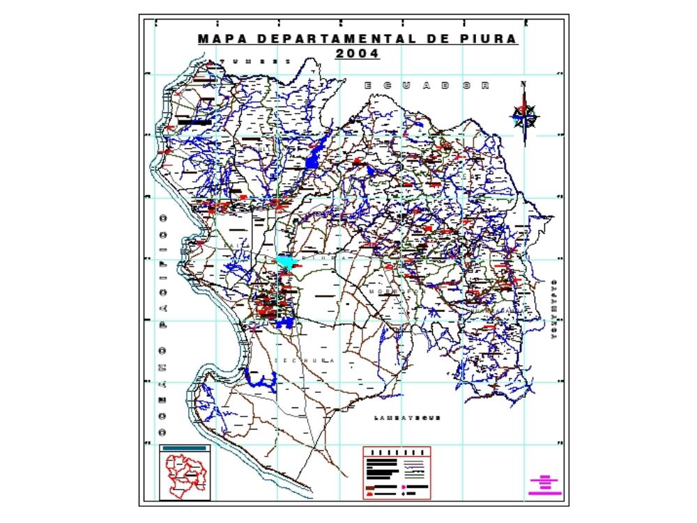 Mapa de ubicación de la región  de piura