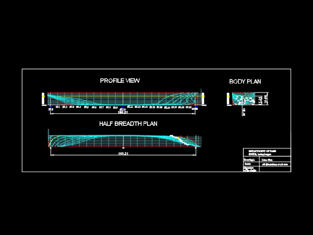 Lines plan of cargo ship with 31000 dwt
