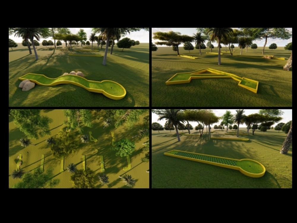 Campo de mini golf 9 hoyos con imagenes renderizadas lumion