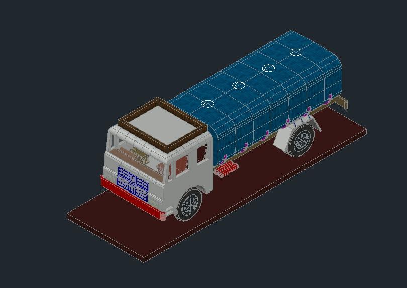 Camión cisterna de transporte de productos derivados del petróleo.