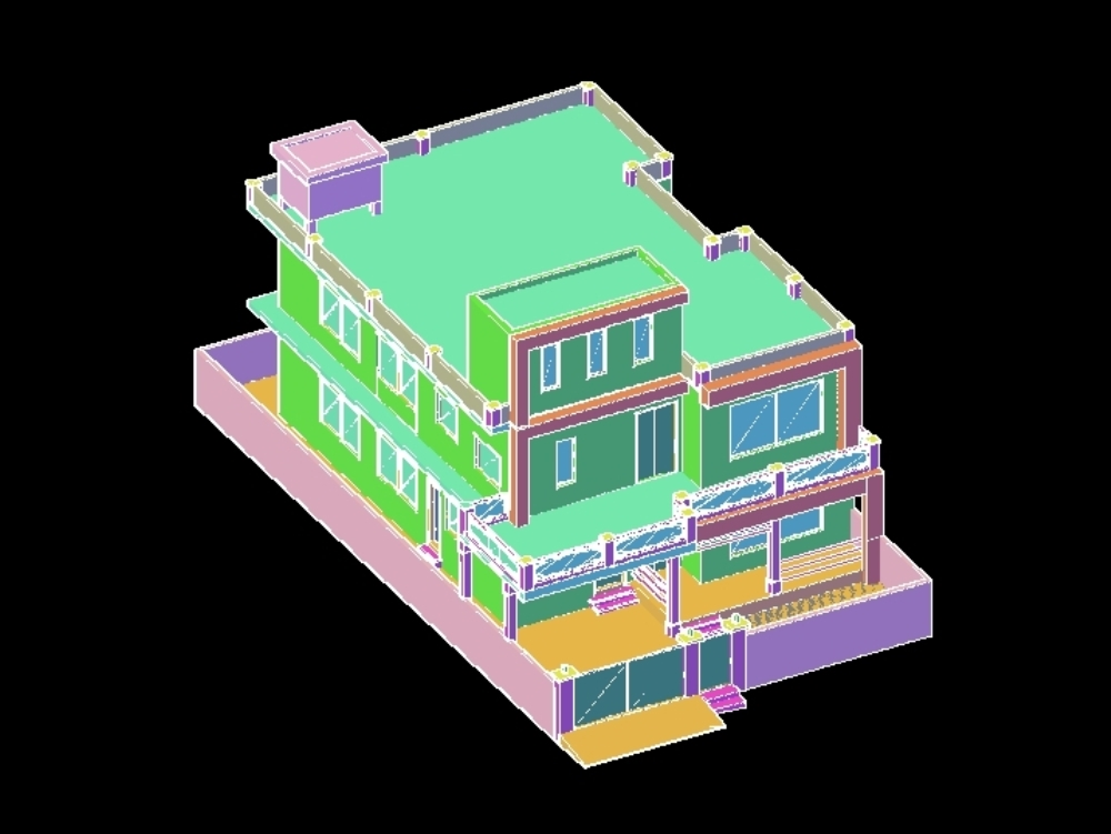 3d house auto cad drawing double story