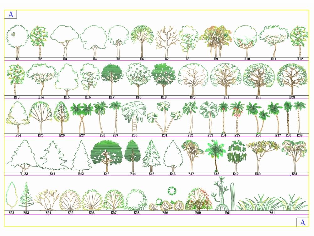 Arboles y arbustos en formato de elevacion dwg