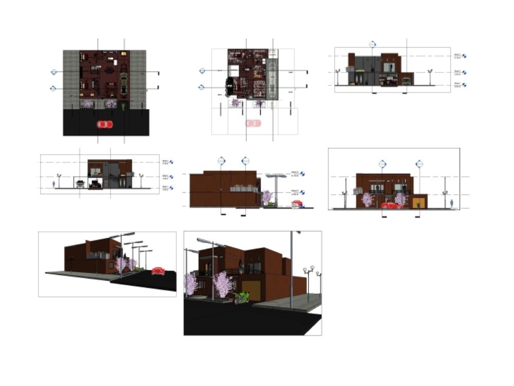 Detached house model in revit