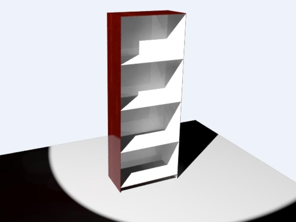 Four-compartment wooden shelf