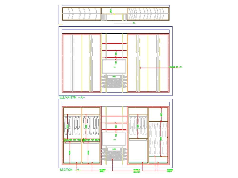 Plan de dormitorio principal con todas las elevaciones y todos los detalles.