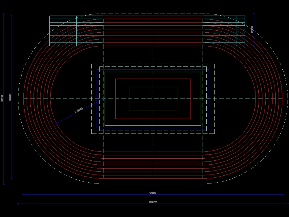 200-meter indoor athletics track with cant