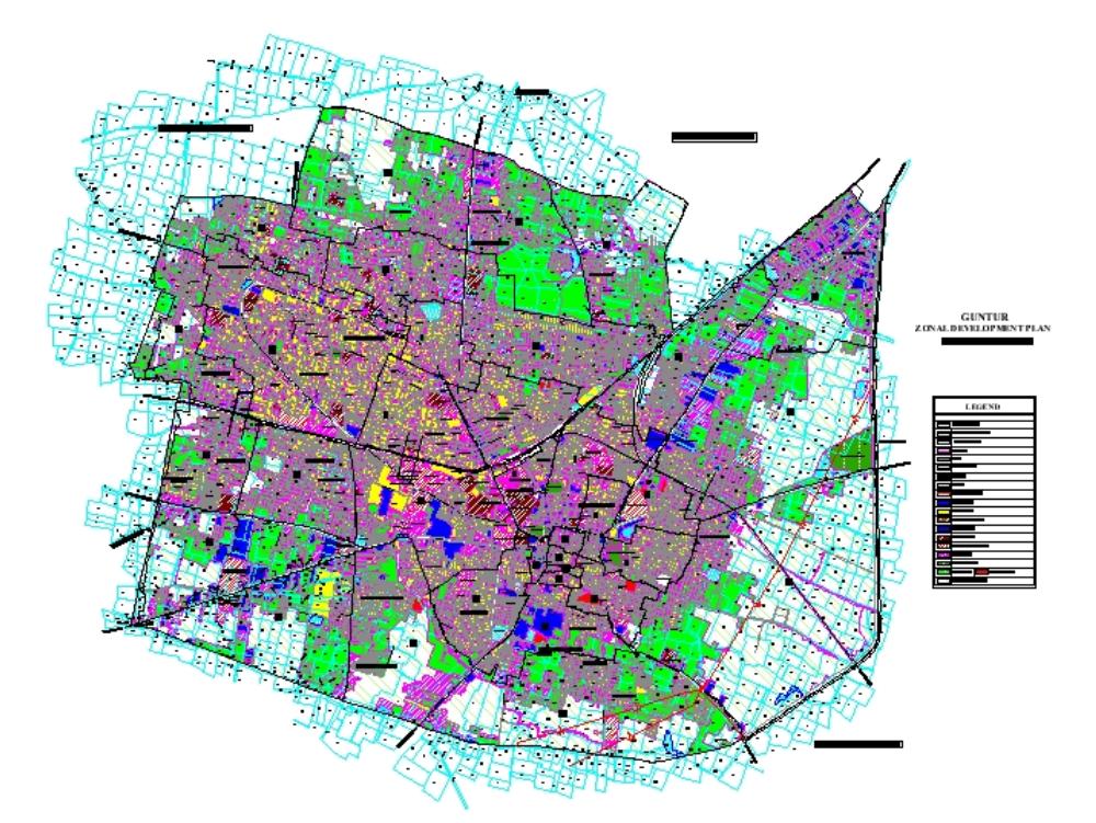 Guntur existing landuse map detail - india