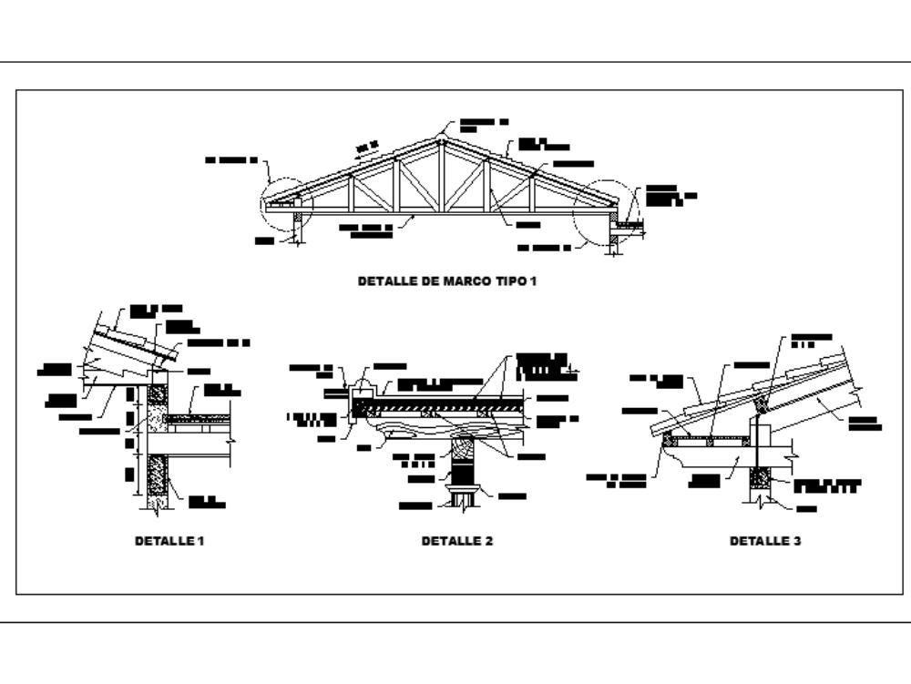 Estructura de techo de  vivienda - cercha de madera