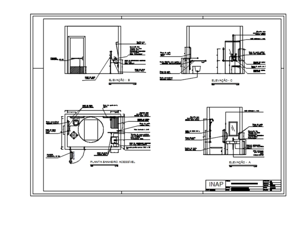 Disabled bathroom - accessible cad