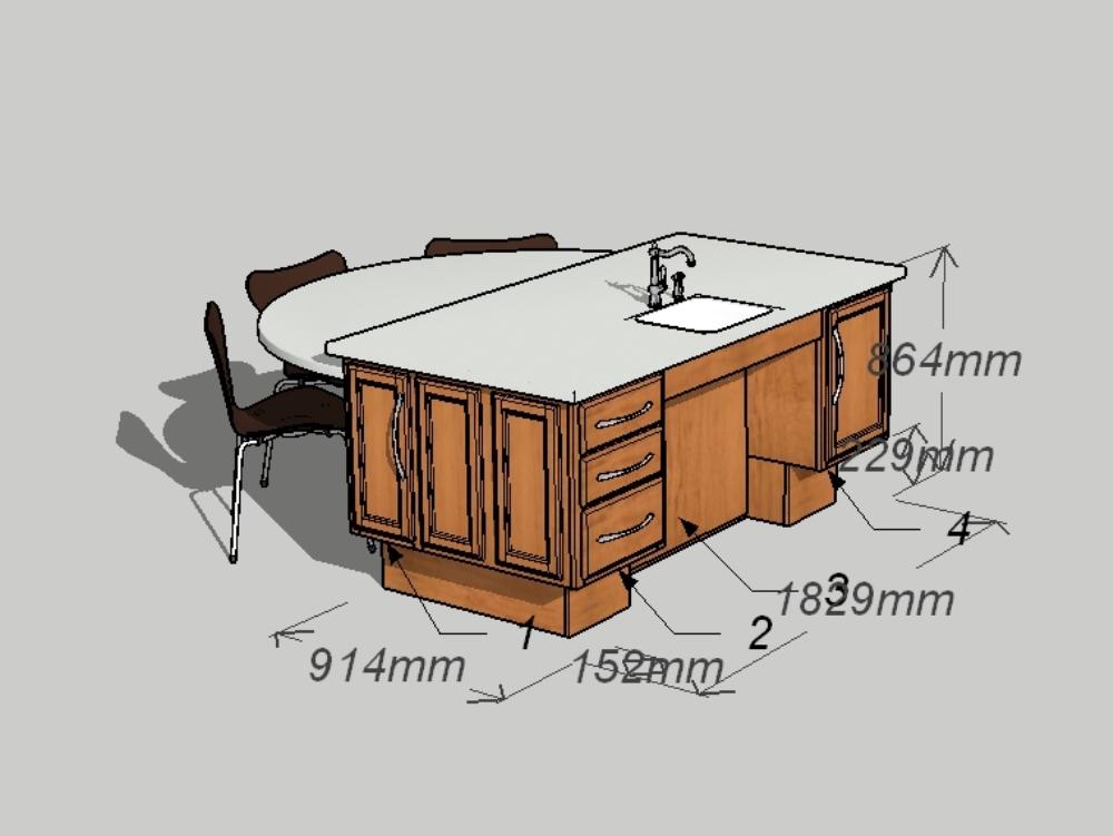 Cocina pequeña como isla para 5 personas