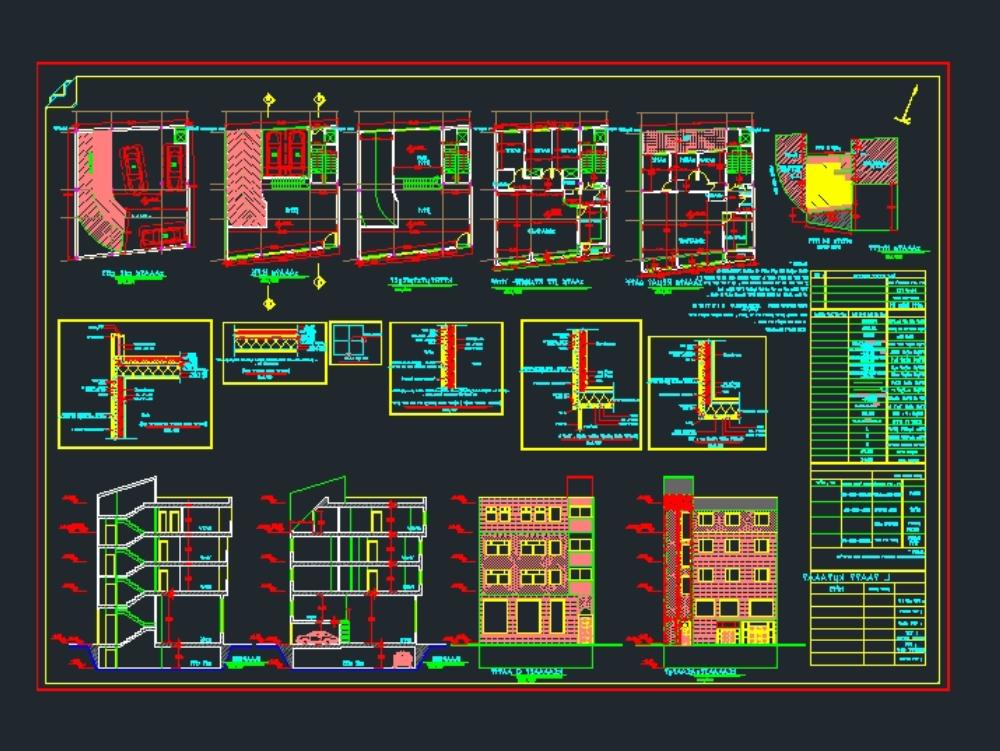 5 story building plan 12*12 residental