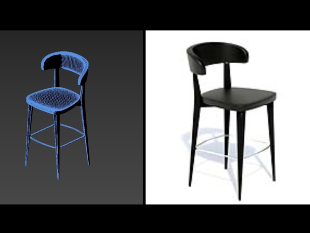 3d black leather stool for a bar stand