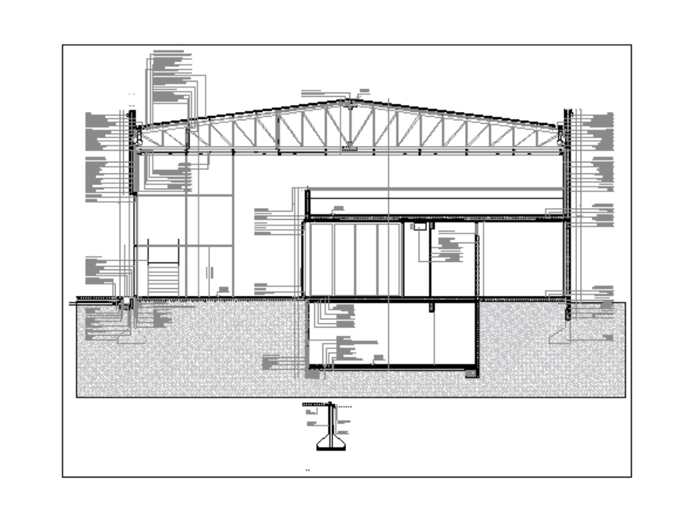 Reinforced concrete wall and steel framing with light roof