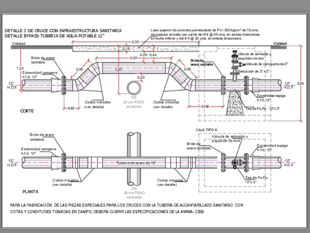 Bypass agua potable tubería de 12 pulgadas