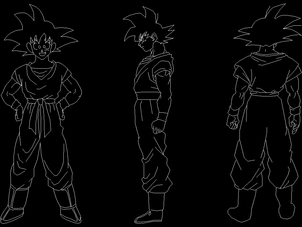 Goku from front profile and sword