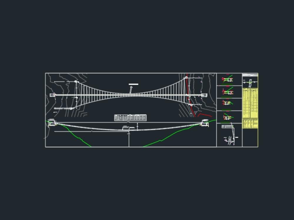 Puente colgante de 120m de largo autocad