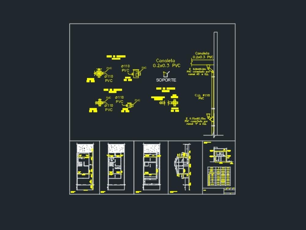 Instalaciones pluviales - planos 1:100 y detalles 1:20