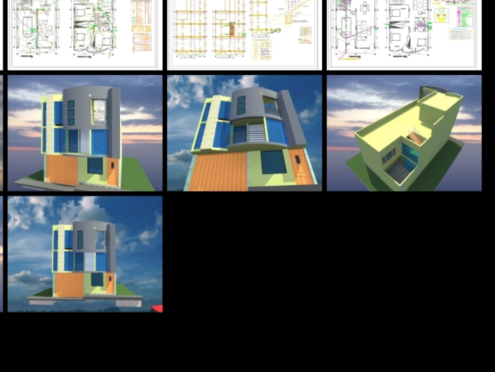 Plans for single-family homes - three floors