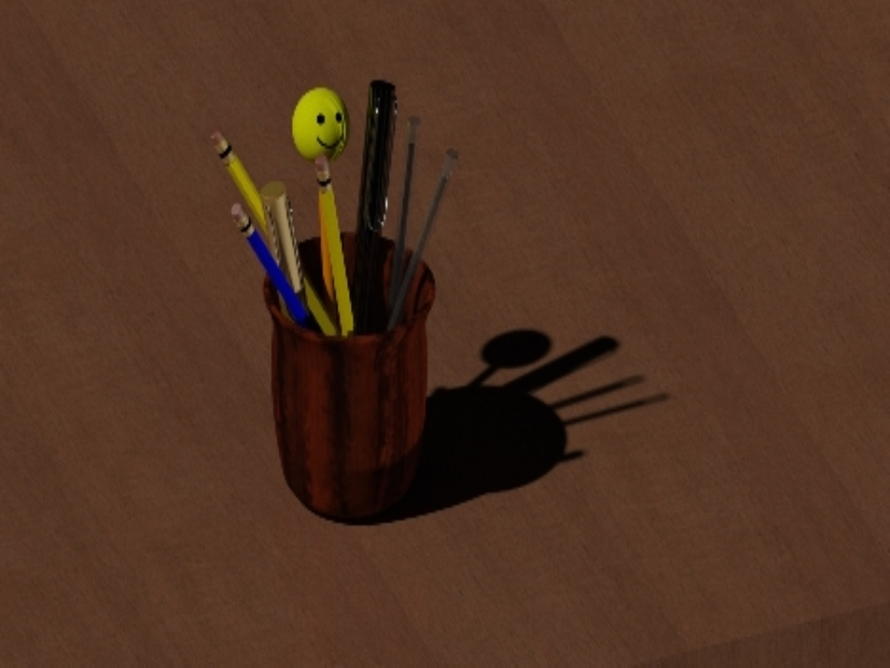 Vaso porta-lapices con lapiceros 3d