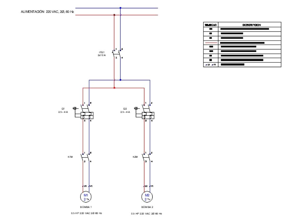 Diagrama de fuerza para un motor de 0.5 hp