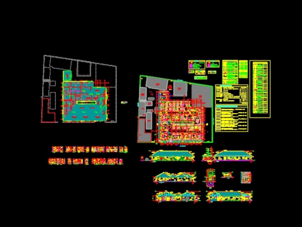 Proyecto de hospital; vista superior aquitectonica