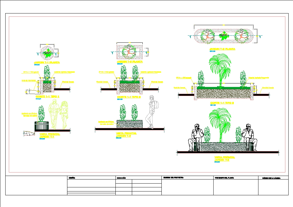 Detail plan of green areas for roads or urban design