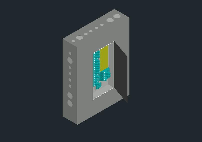 Tablero eléctrico en dibujo echo en 3d