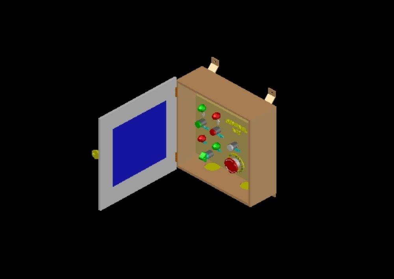 Panel de control electrico en 3d autocad
