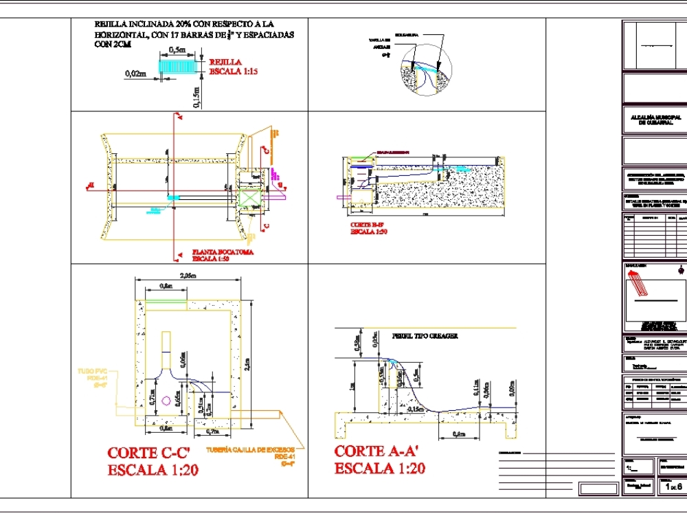 Hydraulic design and intake drawings