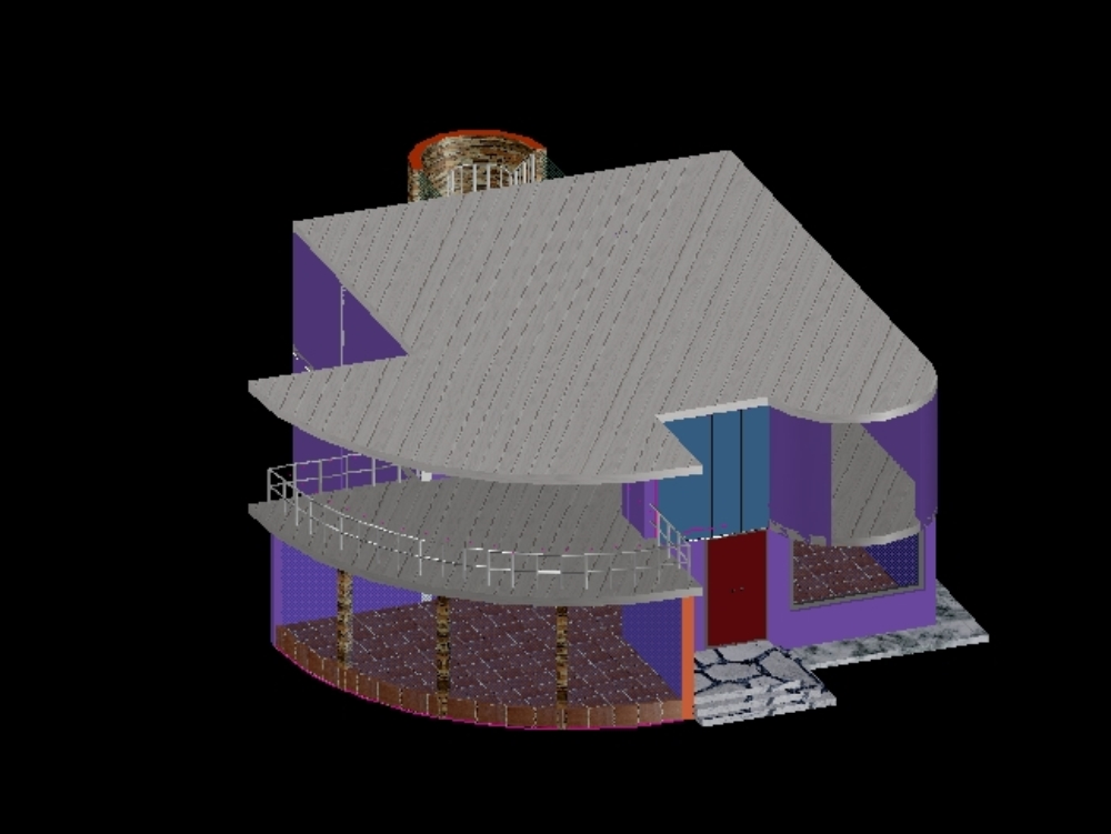 Two-level house modeled in 3d