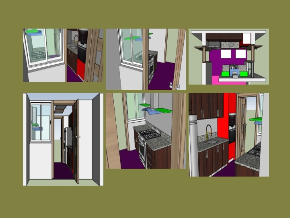 3d equipped kitchen