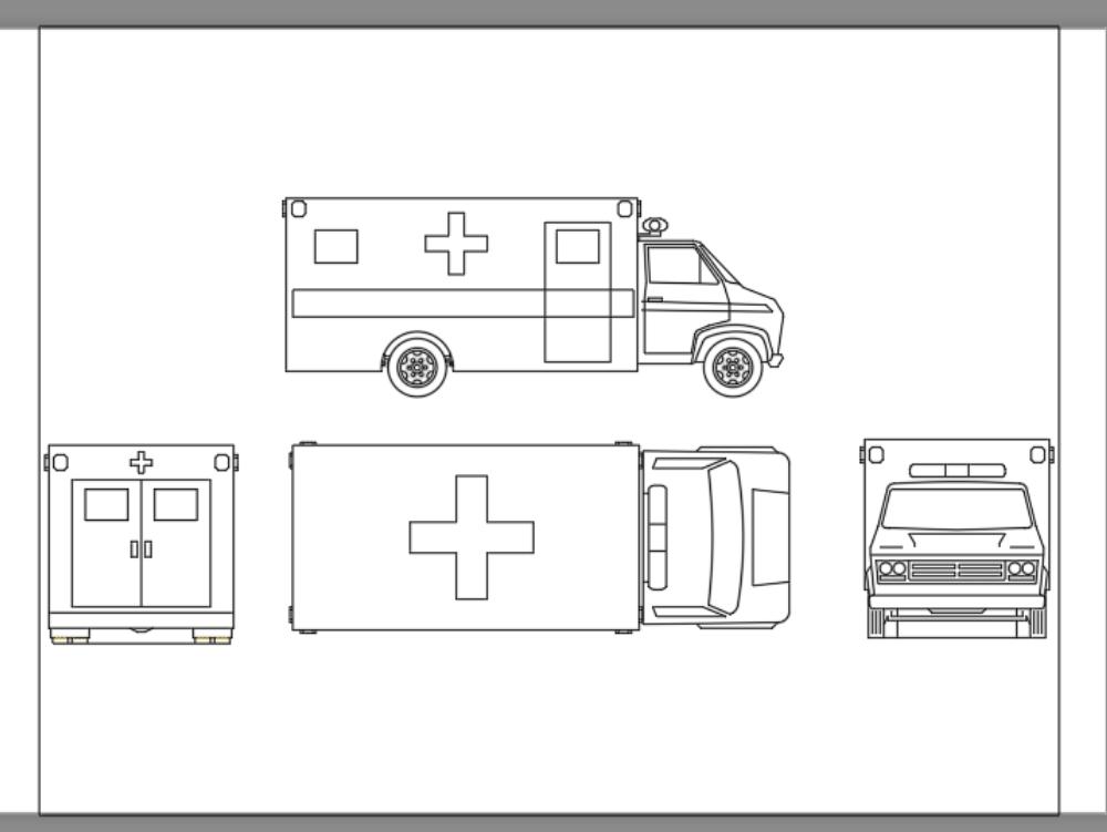 Ambulancia en bloque de autocad