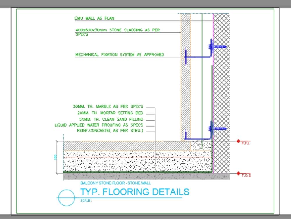 Flooring details (balcony stone floor - stone wall)