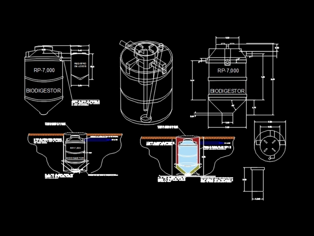 Rotoplas biodigester installation of 7000 liters