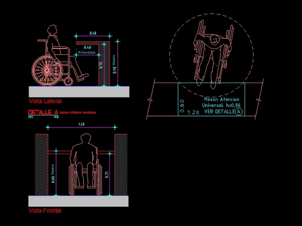Detalle de meson para discapacitados