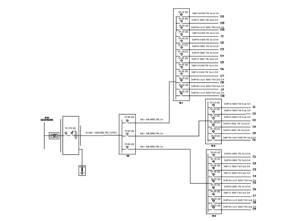 Diagrama unifilar hotel de tres pisos