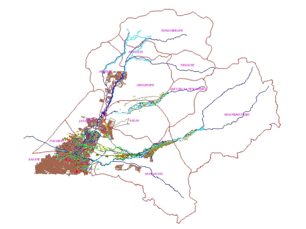 Plano de valle la leche - lambayeque. perú